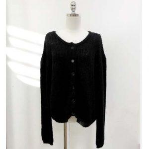 mohair blend black sweater cardigan